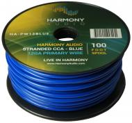 Harmony Audio HA-PW12BLUE Primary Single Conductor 12 Gauge Blue Power or Ground Wire Roll 100 Fe...