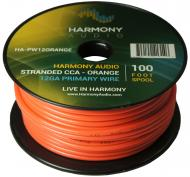 Harmony Audio HA-PW12ORANGE Primary Single Conductor 12 Gauge Orange Power or Ground Wire Roll 10...