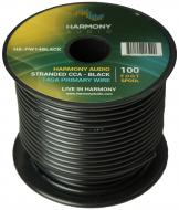 Harmony Audio HA-PW14BLACK Primary Single Conductor 14 Gauge Black Power or Ground Wire Roll 100 ...