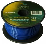 Harmony Audio HA-PW18BLUE Primary Single Conductor 18 Gauge Blue Power or Ground Wire Roll 100 Fe...