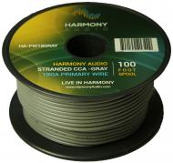 Harmony Audio HA-PW18GRAY Primary Single Conductor 18 Gauge Gray Power or Ground Wire Roll 100 Fe...