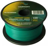 Harmony Audio HA-PW18GREEN Primary Single Conductor 18 Gauge Green Power or Ground Wire Roll 100 ...