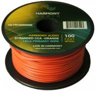 Harmony Audio HA-PW18ORANGE Primary Single Conductor 18 Gauge Orange Power or Ground Wire Roll 10...