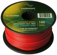 Harmony Audio HA-PW18RED Primary Single Conductor 18 Gauge Red Power or Ground Wire Roll 100 Feet...