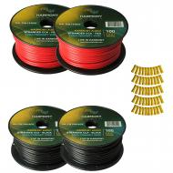 Harmony Audio Primary Single Conductor 12 Gauge Power or Ground Wire - 4 Rolls - 400 Feet - Red &...