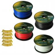 Harmony Audio Primary Single Conductor 12 Gauge Power or Ground Wire - 4 Rolls - 400 Feet - 4 Col...