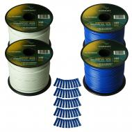 Harmony Audio Primary Single Conductor 14 Gauge Power or Ground Wire - 4 Rolls - 400 Feet - White...