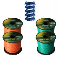 Harmony Audio Primary Single Conductor 14 Gauge Power or Ground Wire - 4 Rolls - 400 Feet - Green...