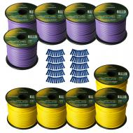 Harmony Audio Primary Single Conductor 14 Gauge Power or Ground Wire - 10 Rolls - 1000 Feet - Yel...