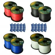 Harmony Audio Primary Single Conductor 14 Gauge Power or Ground Wire - 8 Rolls - 800 Feet - 4 Col...