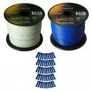 Harmony Audio Primary Single Conductor 16 Gauge Power or Ground Wire - 2 Rolls - 200 Feet - White...