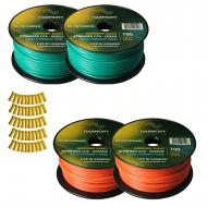 Harmony Audio Primary Single Conductor 12 Gauge Power or Ground Wire - 4 Rolls - 400 Feet - Green...