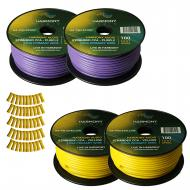 Harmony Audio Primary Single Conductor 12 Gauge Power or Ground Wire - 4 Rolls - 400 Feet - Yello...
