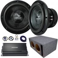 "Harmony Audio HA-C152 Competition Dual 15"" Loaded Vented Sub Box Bundle with Kicker CXA12001..."