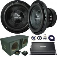 "Harmony Audio HA-C152 Competition Dual 15"" Sub Bundle with Ported Sub Box Kicker CXA12001 Am..."