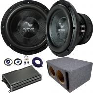 "Harmony Audio HA-C154 Competition Dual 15"" Loaded Vented Sub Box Bundle with Kicker CXA12001..."