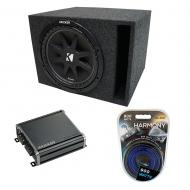 "Universal Car Stereo Vented Port Single 12"" Kicker Comp C12 Loaded Sub Box Bundle with CX300..."