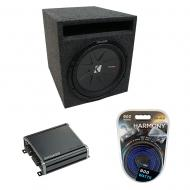 "Universal Car Stereo Slotted S Port Single 8"" Kicker CompR CWR8 Loaded Sub Box Bundle with C..."