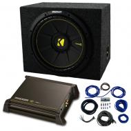 """Single 12"""" Kicker CompC Sub Package with Kicker 11DX250.1 Refurbished Amp & Sealed Enclo..."""