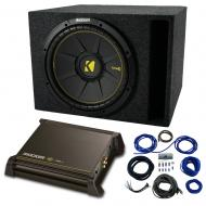 "Single 8"" Kicker CompC Sub Package with Kicker 11DX250.1 Refurbished Amp & Vented Enclosure"