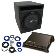 """Single 8"""" Kicker CompR Sub Package with Kicker 11DX250.1 Refurbished Amp & Vented Enclosure"""