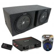 """Kicker Dual 8"""" CompR 4 Ohm DVCVented Enclosure with Refurbished KXA800.1 Amp & Amp Kit"""