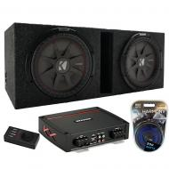 """Kicker Dual 8"""" CompRT 2 Ohm DVC Vented Enclosure with Refurbished KXA800.1 Amp & Amp Kit"""