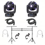 American DJ Asteriod LED Centerpiece (2) w/ 10ft Lighting Stand, DMX Cable (2)