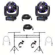 "American DJ Asteriod LED Centerpiece (2) w/ 10ft Lighting Stand, 24"" Cable (2)"