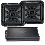 "Kicker 44L7S152 15"" L7 Subwoofers with 1800W 43CXA18001 Car Audio Sub Amplifier"