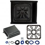 Kicker L7S12 Sub Ported Box with 46CXA8001 Amp, Charcoal LED Grill & Install Kit