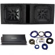 """Kicker 44L7S152 15"""" Subwoofers with Vented Sub Box, 43CXA18001 Amp & Wire Kit"""