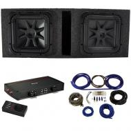"""Kicker 44L7S152 15"""" Subwoofers with Vented Sub Box, 44KXA24001 Amp & Wire Kit"""