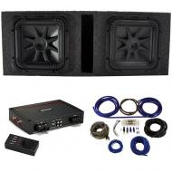 """Kicker 44L7S152 15"""" Subwoofers with Vented Sub Box, 44KXA16001 Amp & Wire Kit"""