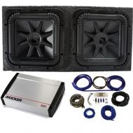 """Kicker 44L7S152 15"""" Subwoofers with Sealed Sub Box, 40KX16001 Amp & Wire Kit"""