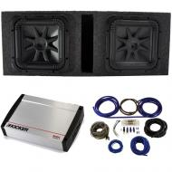 """Kicker 44L7S152 15"""" Subwoofers with Vented Sub Box, 40KX16001 Amp & Wire Kit"""