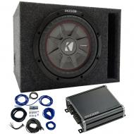 """Kicker 43CWRT121 12"""" CompRT Loaded Vented Sub Box with 46CXA4001 Amp & Wire Kit"""