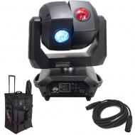 American DJ 3 Sixty 2R Dual Moving Head Light with DMX Cable & Arriba Rolling Bag