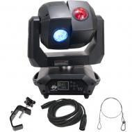 American DJ 3 Sixty 2R Dual Moving Head Light with DMX Cable, Heavy Duty C-Clamp, & 24 Inch S...