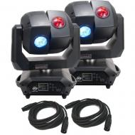 American DJ 3 Sixty 2R Dual Moving Head Lights (2) with DMX Cables (2)