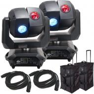 American DJ 3 Sixty 2R Dual Moving Head Lights (2) with DMX Cables (2) & Arriba Rolling Bags (2)