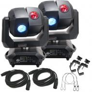 American DJ 3 Sixty 2R Dual Moving Head Lights (2) with DMX Cables (2), Heavy Duty C-Clamps (2), ...