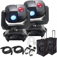American DJ 3 Sixty 2R Dual Moving Head Lights (2) with DMX Cables (2), Arriba Rolling Bags (2), ...