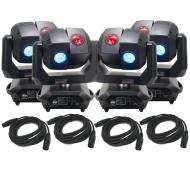 American DJ 3 Sixty 4R Dual Moving Head Lights (4) with DMX Cables (4)