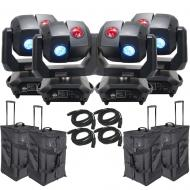 American DJ 3 Sixty 4R Dual Moving Head Lights (4) with DMX Cables (4) & Arriba Rolling Bags (4)