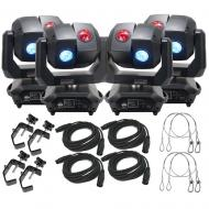 American DJ 3 Sixty 4R Dual Moving Head Lights (4) with DMX Cables (4), Heavy Duty C-Clamps (4), ...