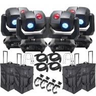 American DJ 3 Sixty 4R Dual Moving Head Lights (4) with DMX Cables (4), Arriba Rolling Bags (4), ...