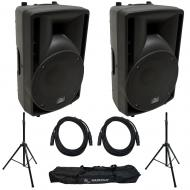 "Harmony Audio HA-C15A 15"" Pro DJ Powered 1000W PA Speaker Pair with Tripod Speaker Stands &a..."