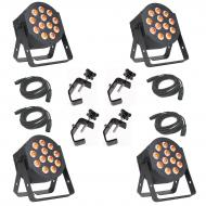 American DJ 12P HEX LED Flat Par Wash Lighting Fixture (4) with 3 Pin DMX Light Fixture Control C...