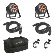 American DJ 12P HEX LED Flat Par Wash Lighting Fixture (2) with 3 Pin DMX Light Fixture Control C...